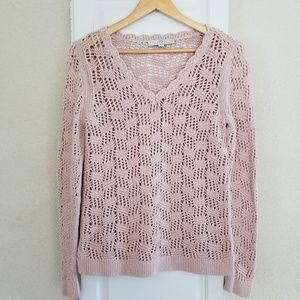 LOFT V-Neck Open Knit Pullover Sweater sz.Small